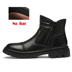 LovelyMs Natural Leather Men Warm Plush Ankle Boots