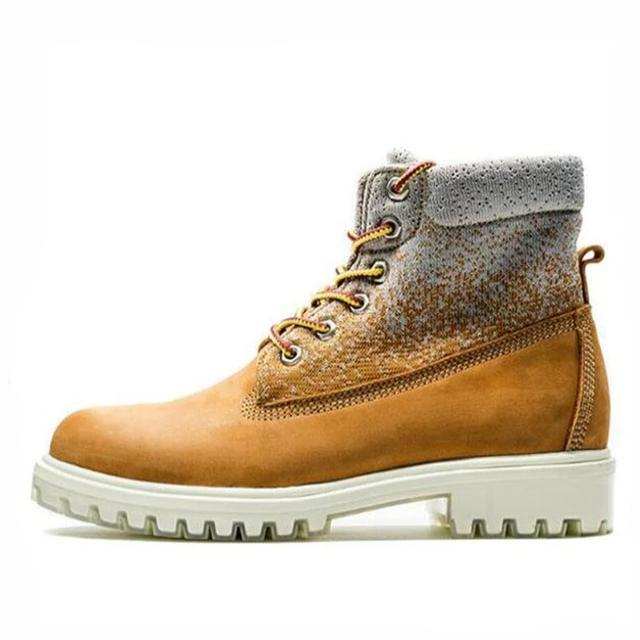 LovelyMs High Top Natural Leather With Canvas Men Boots