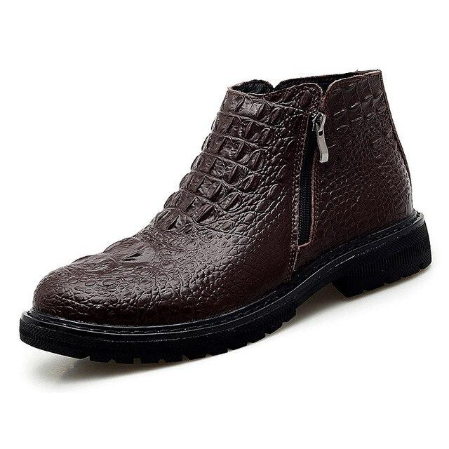 LovelyMs Genuine Leather Men Warm Fur Ankle Boots