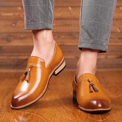 LovelyMs Men Leather Pointed Toe Business Casual Shoes