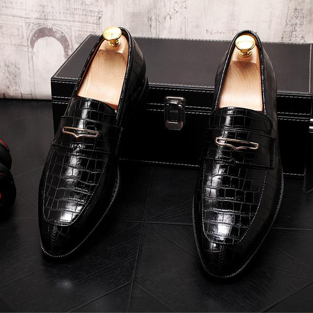 LovelyMs Men Pointed Classic Crocodile Pattern Leather Flats Oxfords Homecoming Shoes