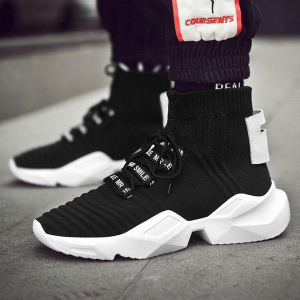 Black White Men High Top Knitting Gym Sneakers HE-08
