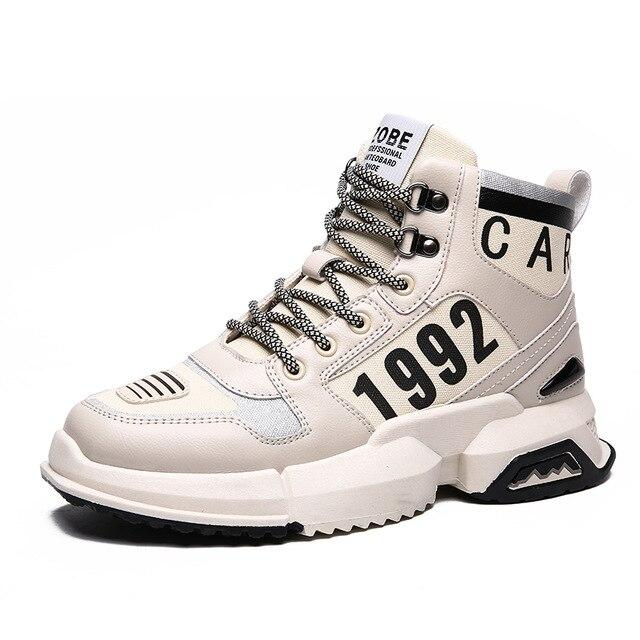 New Men's Fashion Casual High Top Lace-Up High Quality Non-slip Walking Shoe