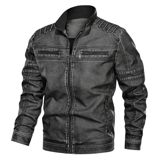 2019 Fleece Military Men's Denim PU Zipper Plus Size Jacket
