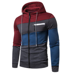 Men's  Casual Patchowrk Zipper Hoodies Sweatshirts