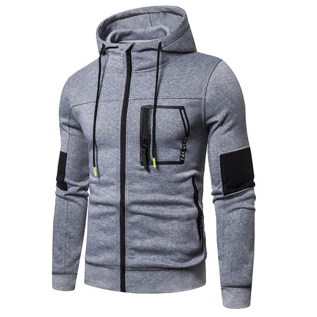 Men Fashion Slim Fit Solid Casual Zipper Letter Print Sweatshirts