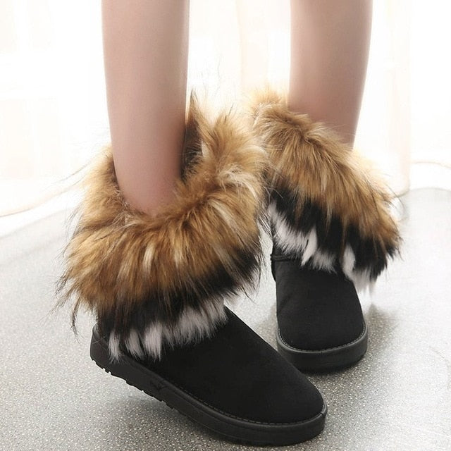 Women Fur Boots  Winter Warm Ankle Boots