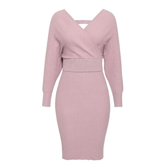 Sexy V-Neck Women's Knitted Skirt 2 Pieces Suits