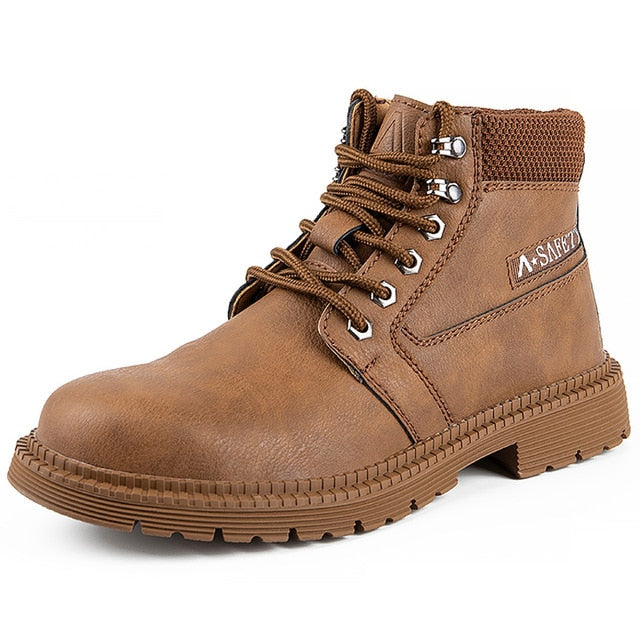 Work Boots Puncture-Proof Safety Boots Steel Toe Shoes Chelsea Boots