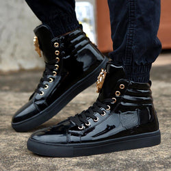 Fashion High Top PU Leather Lace Up Red White Black Color Mens Casual Shoes