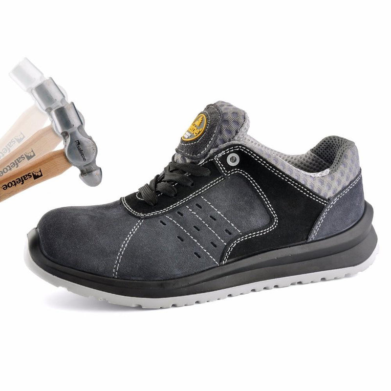 Safety Work Sports Comfortable Toe Cow Suede Mesh Fashion Breathable Air Lace Up Men Shoes