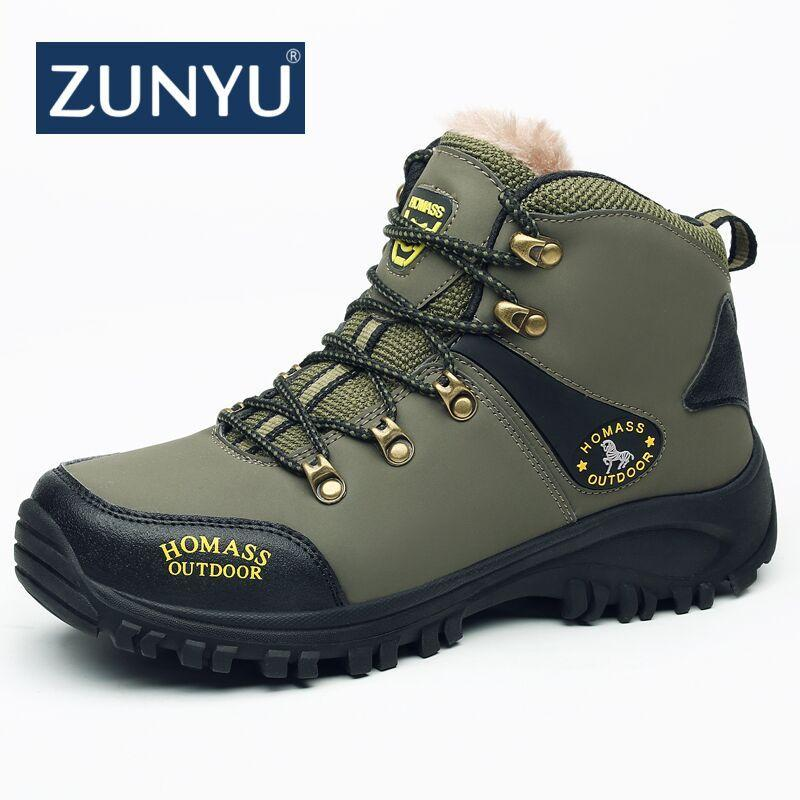 Men Winter Waterproof  Warm Fur & Plush Lace Up High Top Outdoor Sneakers Boot
