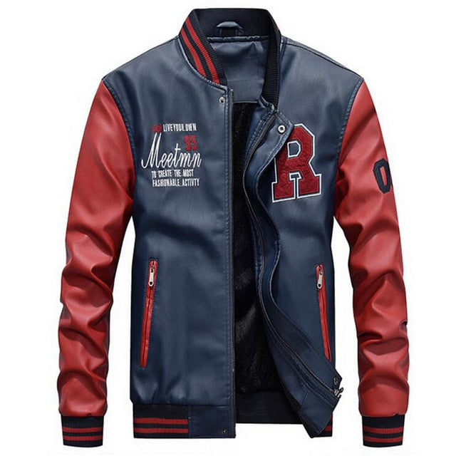 Brand Embroidery  Men Pu Faux Leather Baseball Jacket