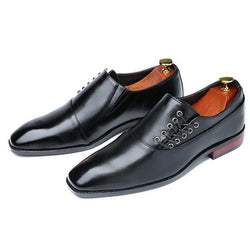 LovelyMs Formal Dress Wedding Red Wine British Style Business Office Lace-Up Leather Loafers