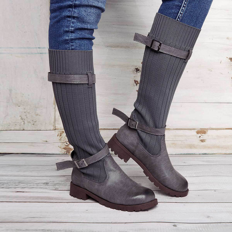 LovelyMs Casual Comfy Boots Vintage Low Heel Round Toe Adjustable Buckle  Boots