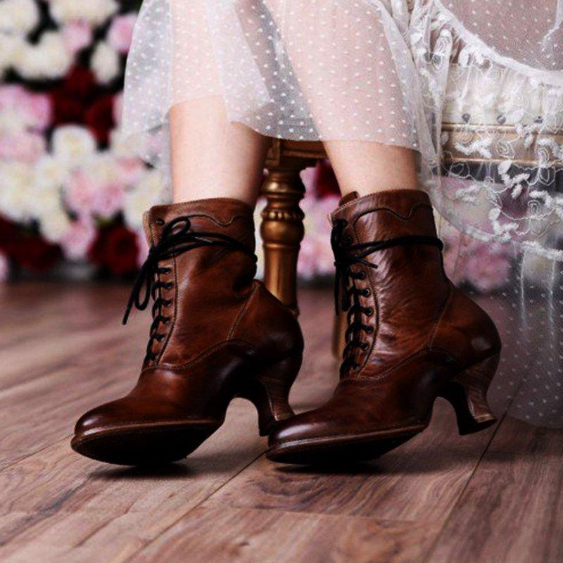 LovelyMs Women's Stiletto Vintage Middle Heel Lace Up Closed Toe Boots Shoes