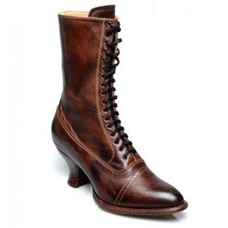 LovelyMs Women Leather Ankle Stiletto Middle Heel Lace Up Closed Toe Boots