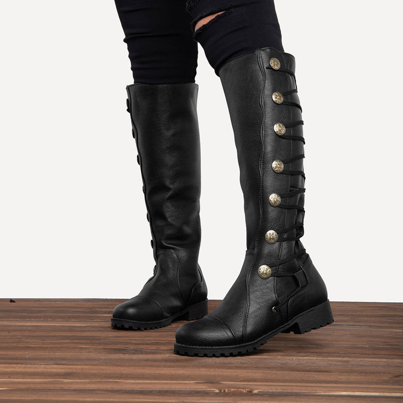 LovelyMs Women Leather Lace Up Low Heel Closed Toe Knee-High Winter Boot Shoes
