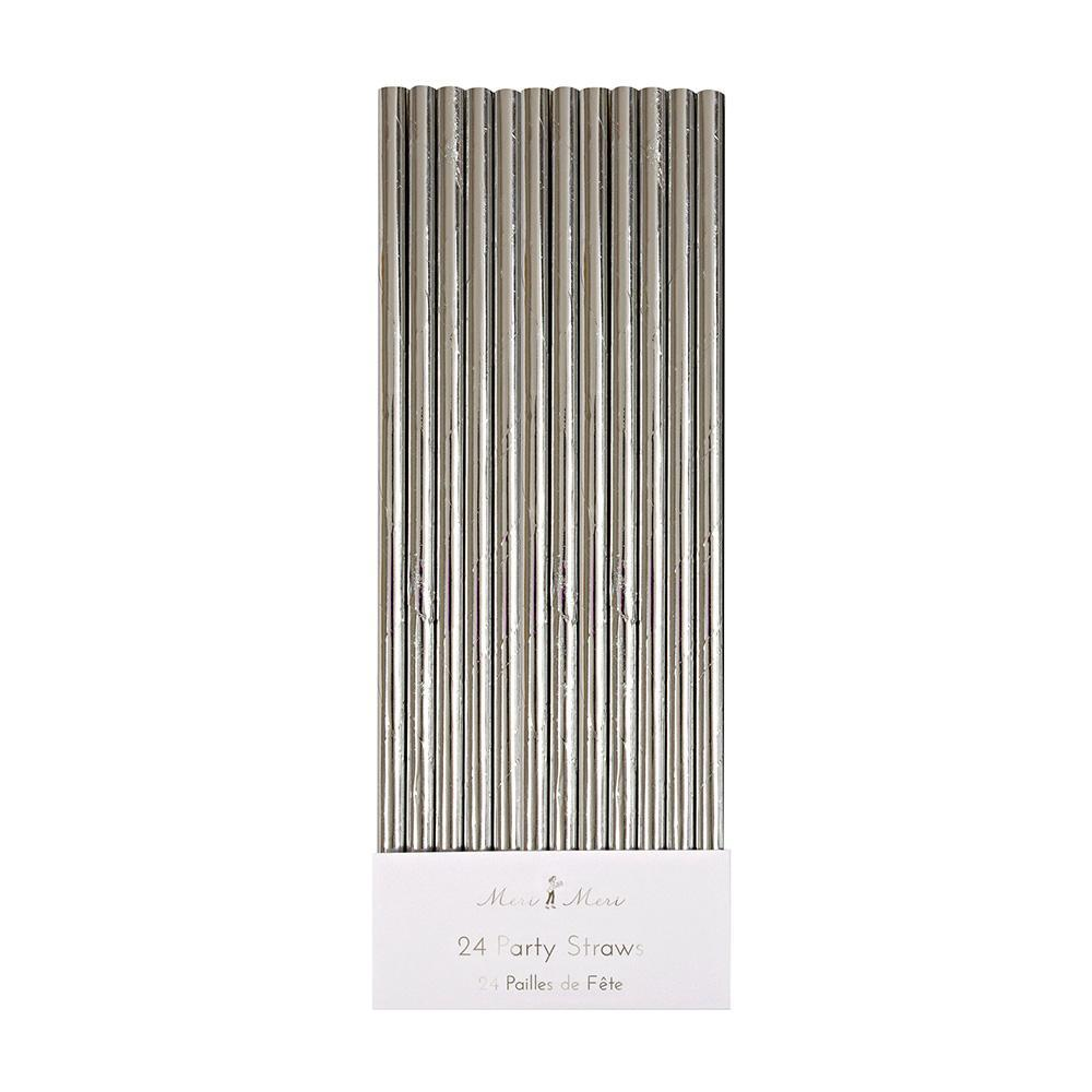 Silver Foil Party Straws (24 Pack)