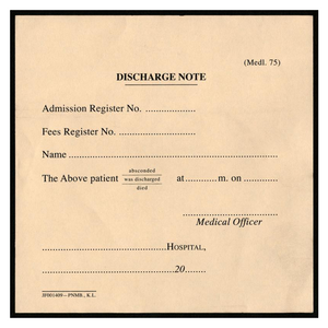 Discharge Note (PERUB-MEDL75)