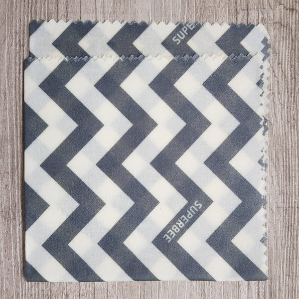 Medium beeswax wrap - Grey chevron