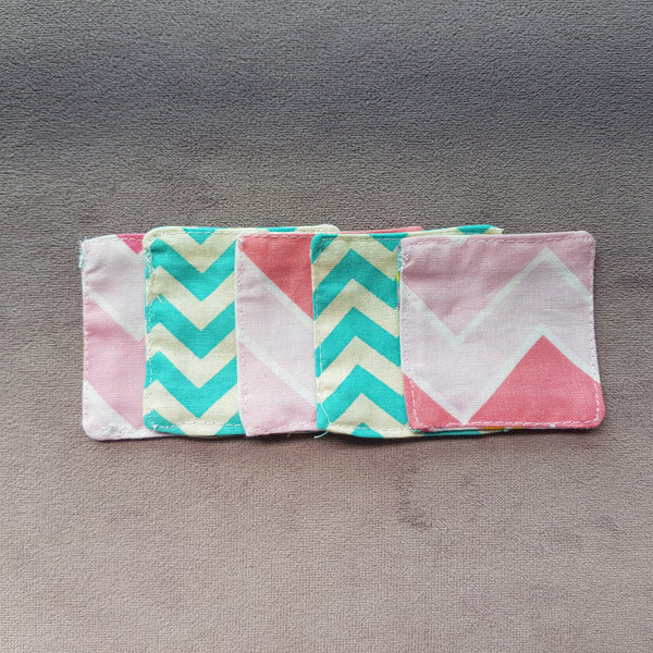 Colourful chevron cotton facial pads