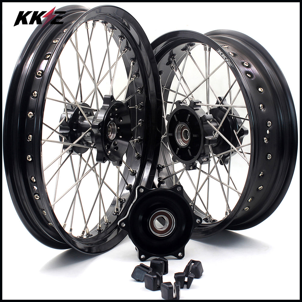 KKE 2.5*19 & 4.25*17 Cush Drive Supermoto Wheels Set for SUZUKI Dr650se 1996-2016 Black