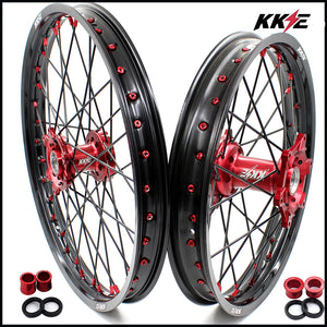 KKE 21 & 19 / 21 & 18 Wheels Set for Honda CRF250R 04-13 CRF450R 02-12 Red Black
