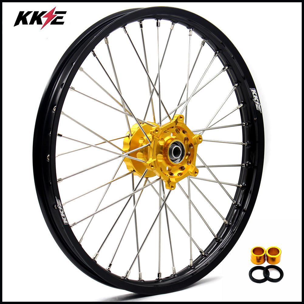 KKE 1.6*21 Spoked Front Wheel Rim for Suzuki RMZ250 2007-2019 RMZ450 2005-2019 Gold Hub Black Rim