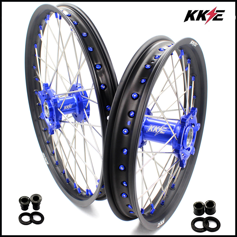 KKE 21 & 18 Inch Rims for SUZUKI DRZ400SM 2005-2018 Blue Nipple