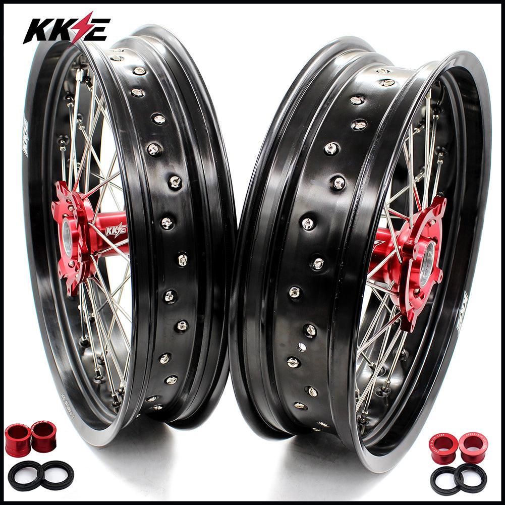 KKE 3.5 & 4.25 Supermoto Wheels for Honda CRF250R 04-13 CRF450R 02-12 Red