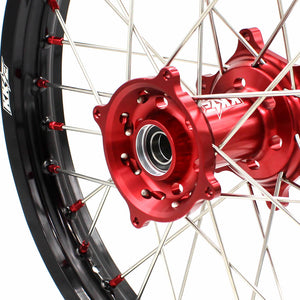 KKE MX/ENDURO DIRT BIKE WHEELS SET FIT HONDA CR125R CR250R 2002-2013 CRF250R 04-13 CRF450R 02-12 RED NIPPLE - KKE Racing