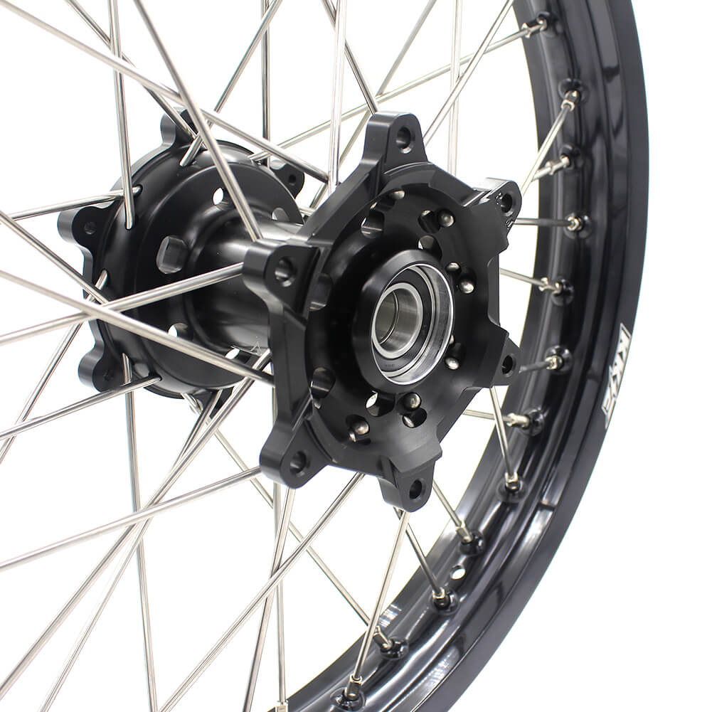 KKE RM125 1996-2007 RM250 1996-2008 21/19 MX WHEELS RIMS SET FIT SUZUKI DIRTBIKE BLACK CNC HUB - KKE Racing