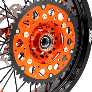 KKE 3.5/4.25 COMPLETE SUPERMOTO WHEELS SET FOR KTM 125-530 2003-2019 ORANGE NIPPLE BLACK SPOKE - KKE Racing