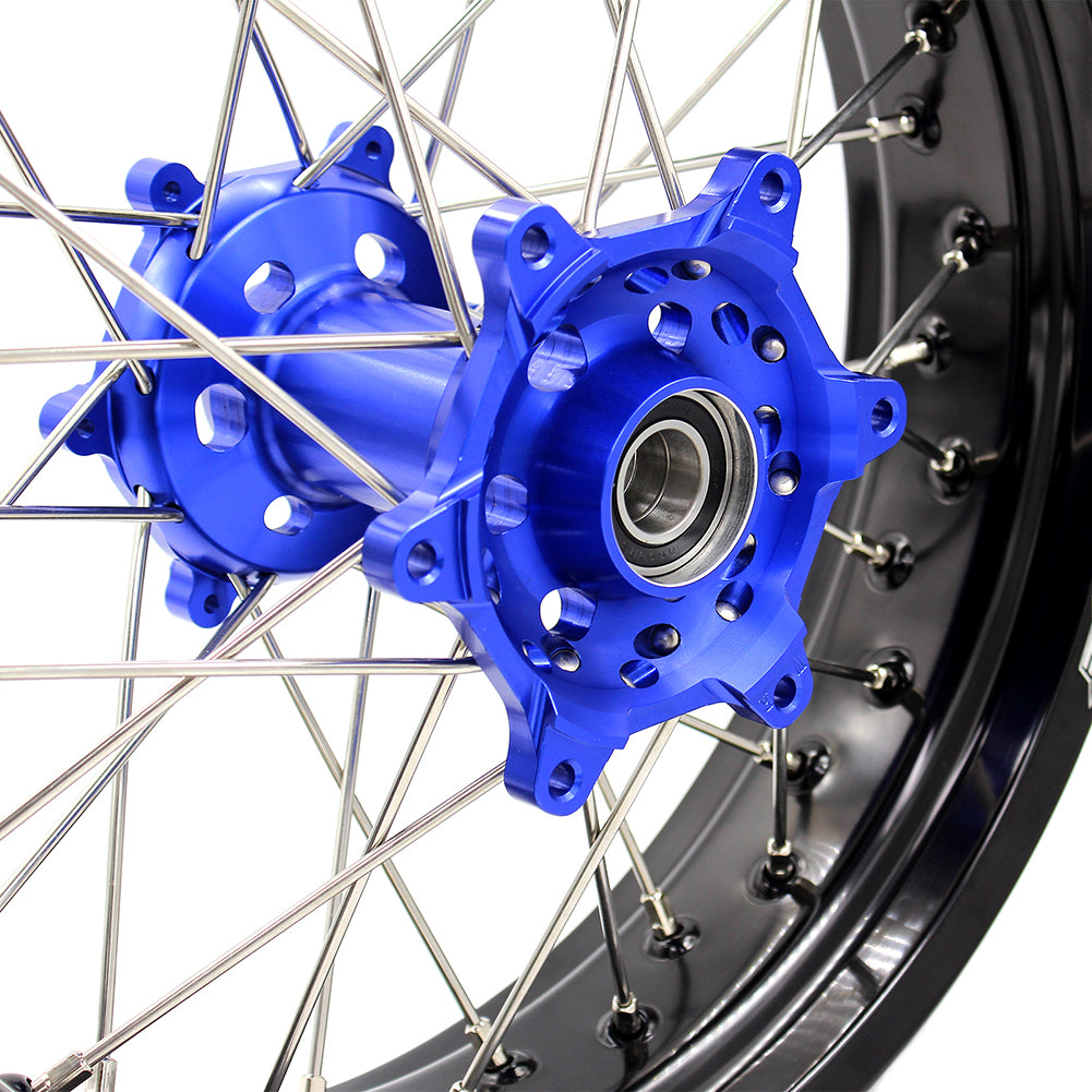 KKE 3.5 & 4.25 Supermoto Wheels Wet for YAMAHA WR250R 2008-2019 Blue Hub