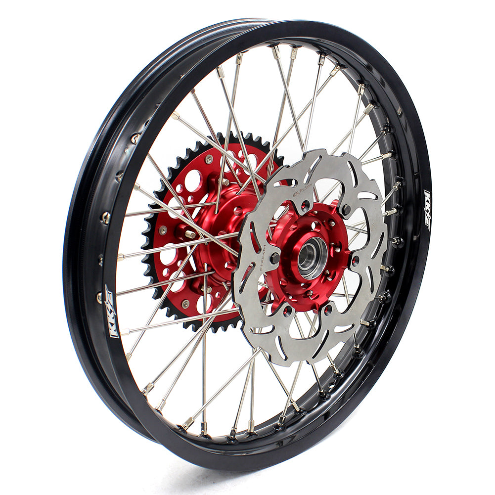KKE 21 & 19 Spoked mx wheels set for Suzuki rmz250 07-19 rmz450 05-19 off road dirt bikes rims red hub black rim - KKE Racing