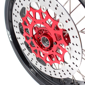 KKE 3.5/4.25 CUSH DRIVE SUPERMOTO WHEELS SET FOR HONDA XR650L 1993-2018 RED SPROCKET - KKE Racing