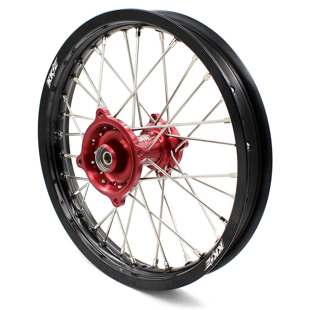KKE 19/16 KID'S BIG WHEELS RIMS SET FIT HONDA CR80R 1993-2002 CR85R 2003-2008 MINI BIKE RED CNC HUB