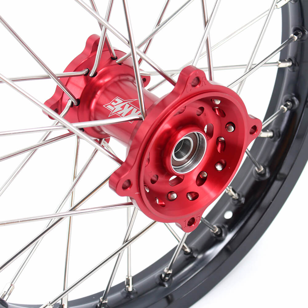 KKE 19/16 BIG KID'S WHEELS RIMS SET FIT HONDA CRF150R 2007-2018 MINI BIKE RED CNC HUB