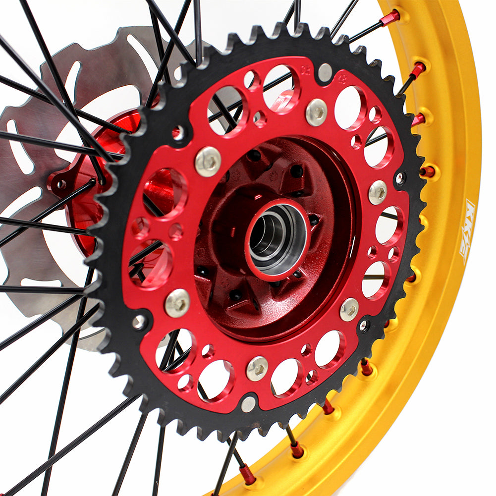 KKE 21 & 19 Complete Casting MX Wheels Set for HONDA CR125R 1996-1997 CR250R 1996 CR500R 1996-2001 Gold Rims Rear 220MM Disc