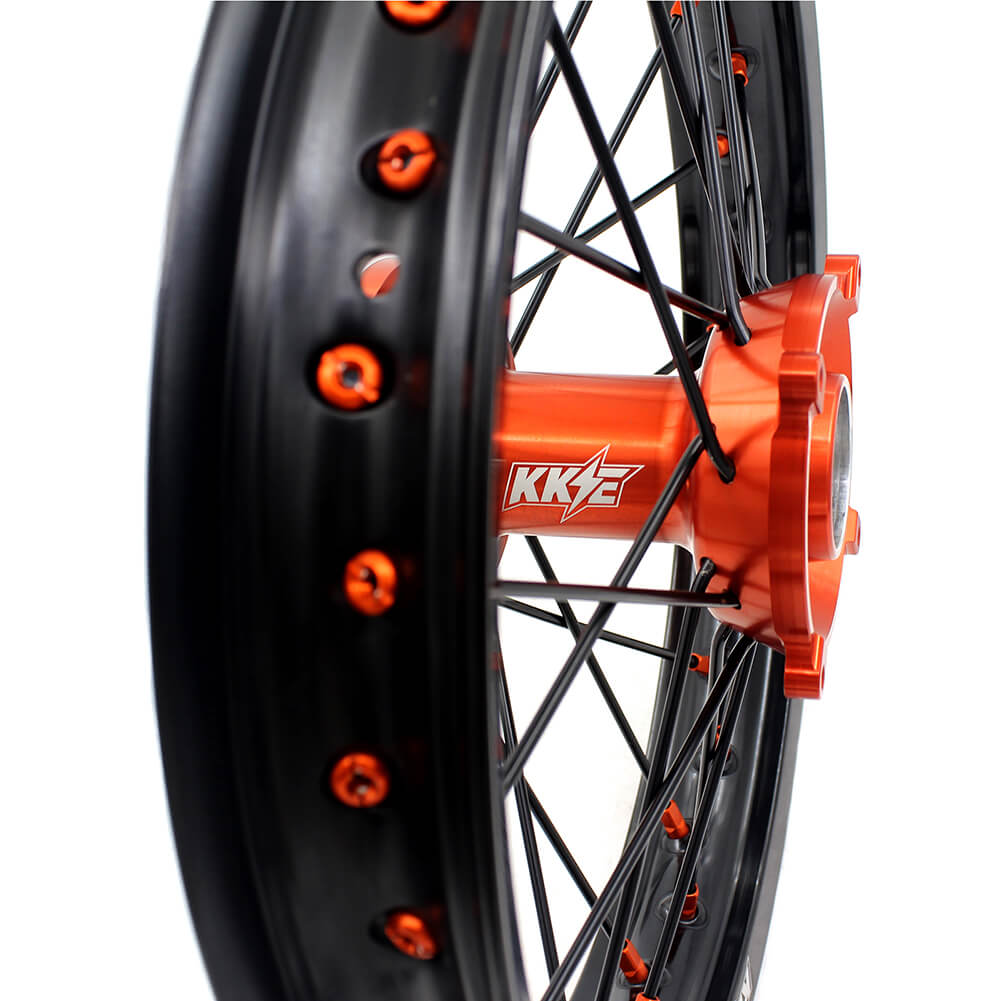KKE 19/16 BIG KID'S WHEELS RIMS SET FIT KTM85 SX 2003-2018 ORANGE HUB NIPPLE BLACK SPOKE