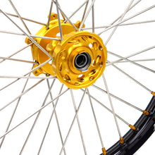 Load image into Gallery viewer, KKE 21 18 INCH SPOKED ENDURO WHEELS SET FOR SUZUKI DRZ400SM 2005-2018 GOLD NIPPLE - KKE Racing