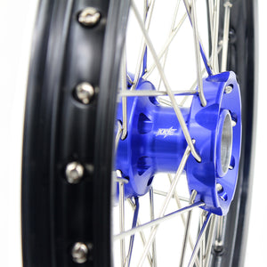 KKE 19 & 16 Kids Wheels Rims Set for KTM85 SX 2003-2020 Blue Hub Black Rims