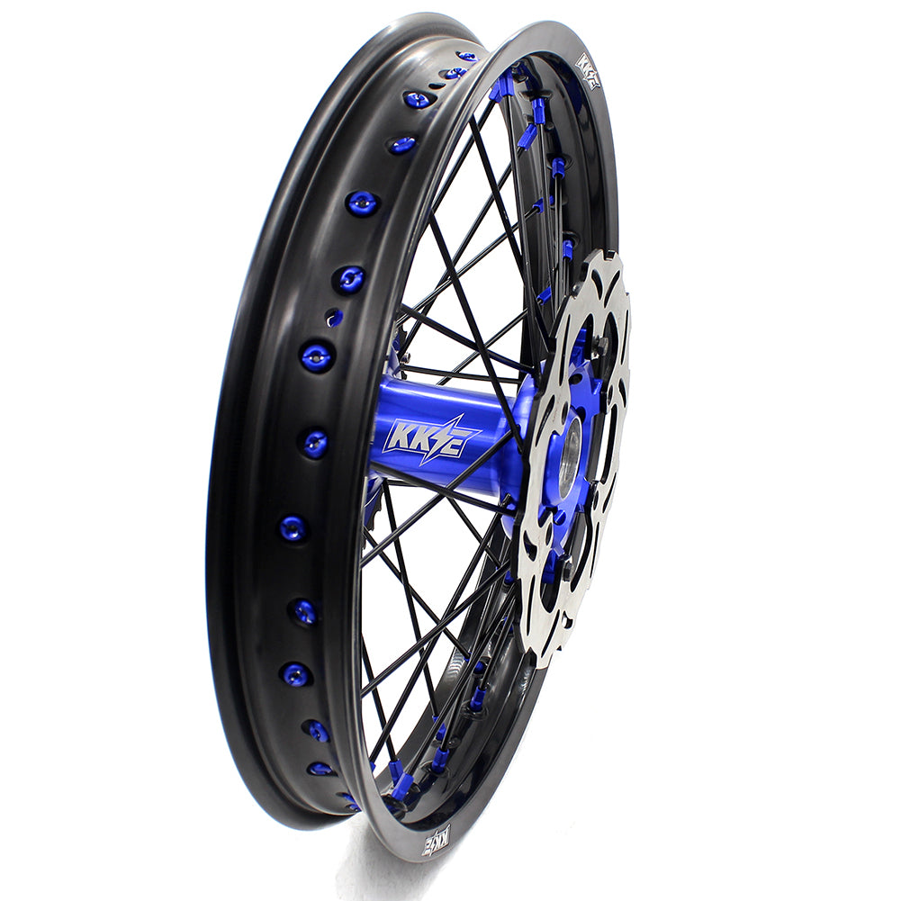 KKE 21 & 18 Inch Enduro Wheels Set for SUZUKI DRZ400 00-04 DRZ400E 00-07 DRZ400S 00-18 Blue Nipple Black Spoke Discs - KKE Racing