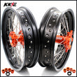 KKE 3.5*16.5 & 5.0*17 Supermoto Wheels Set for SX SX-F EXC EXC-F XCF 125-530 Orange