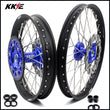 KKE 21 & 19 MX Wheels for Kawasaki KX125 KX250 1993-2002 Blue Black Discs