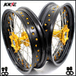KKE 3.5 & 4.25 Supermoto Wheels for SUZUKI DRZ400SM 2005-2020 Gold Nipple
