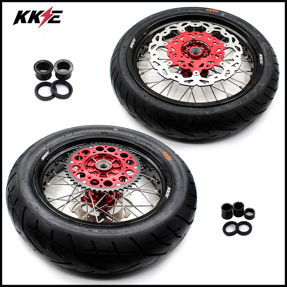 KKE 3.5 & 4.25 Cush Drive Supermoto CST Wheels Rims Set for Honda XR400R 96-04 XR600R 91-00 Red Hub