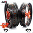 KKE 3.5 & 5.0 Cush Drive Supermoto Wheels Rims for SMC 690 2007-2011 Enduro R 690 2008-2019 Orange Nipple