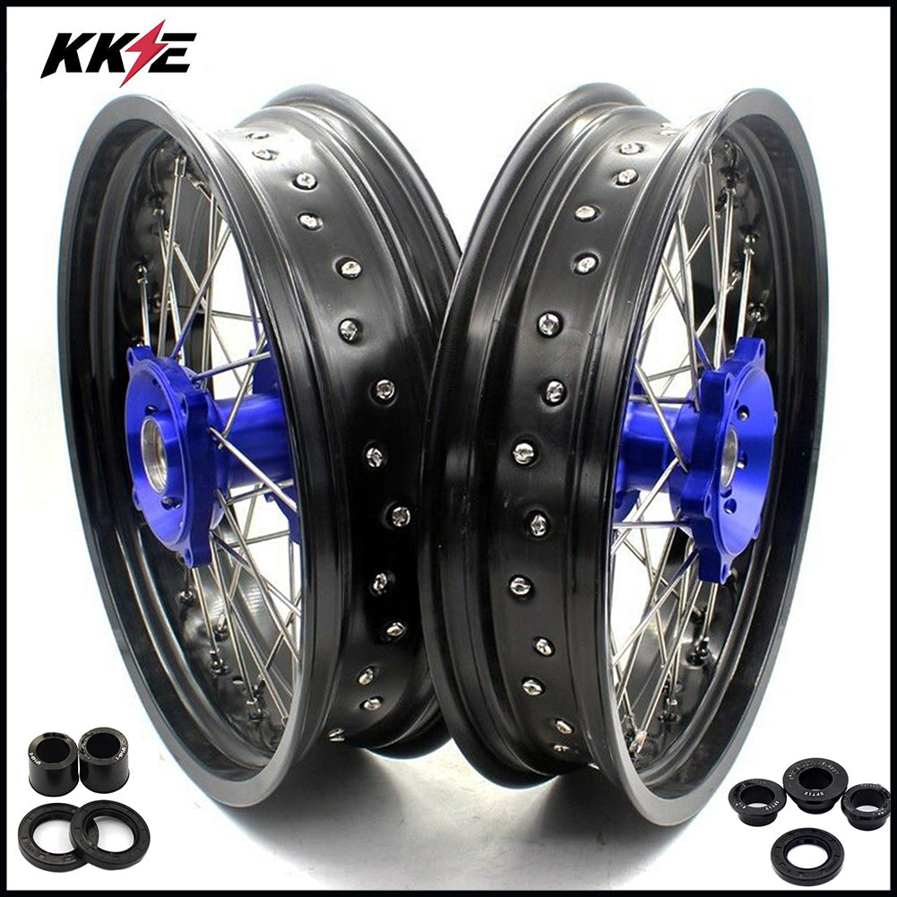 KKE 3.5 & 4.25 17 Inch Cush Drive Supermoto Wheels Rims Set for SUZUKI DR650SE 1996-2016 Blue Hub